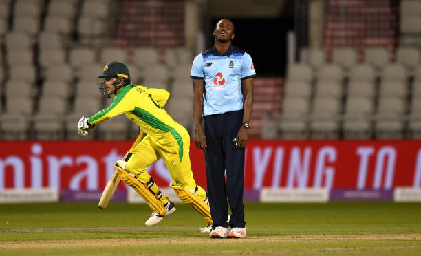 Jofra Archer of England reacts after being hit for four by Alex Carey of Australia during the 3rd Royal London One Day International Series match...