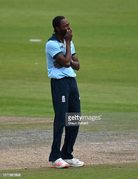 Jofra Archer of England reacts after taking the wicket of Pat Cummins of Australia during the 1st Royal London One Day International Series match...