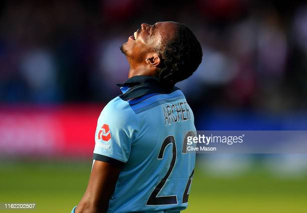Jofra Archer of England reacts after the Final of the ICC Cricket World Cup 2019 between New Zealand and England at Lord's Cricket Ground on July 14...