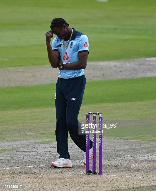 Jofra Archer of England reacts during the 1st Royal London One Day International Series match between England and Australia at Emirates Old Trafford...