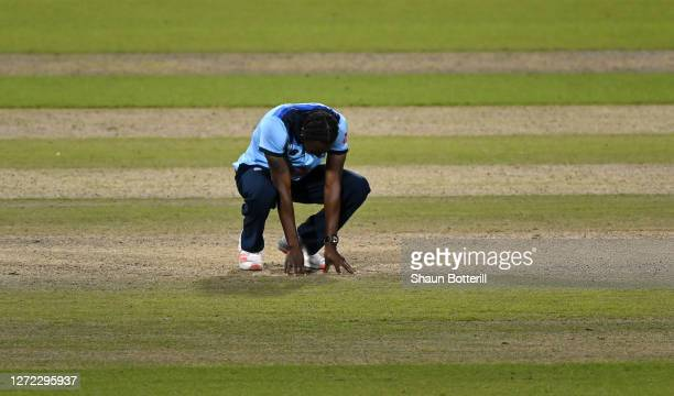 Jofra Archer of England reacts during the 2nd Royal London One Day International Series match between England and Australia at Emirates Old Trafford...