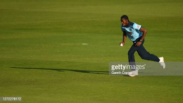 Jofra Archer of England runs into bowl during the 2nd Royal London One Day International Series match between England and Australia at Emirates Old...