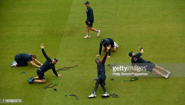 Jofra Archer of England stretches during a training session before the fourth Specsavers test match between England and Australia at Old Trafford...