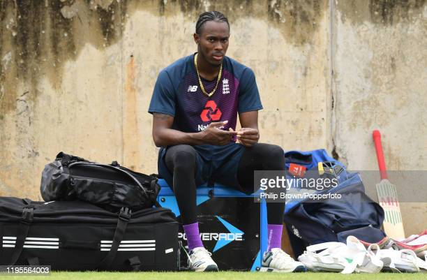 Jofra Archer of England takes a break in the nets before the first test against South Africa on December 23, 2019 in Centurion, South Africa.