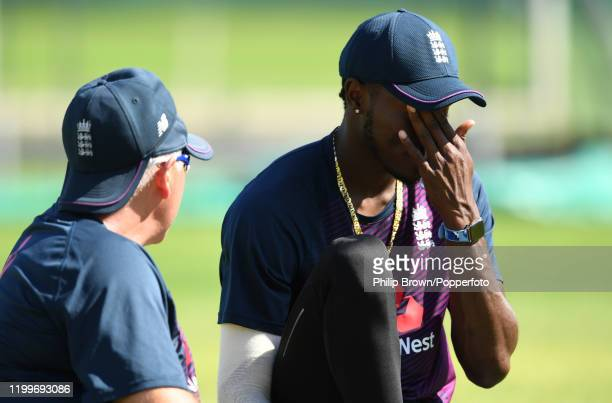 Jofra Archer of England talks to Chris Silverwood during a training session at St George's Park before the third Test Match between England and South...