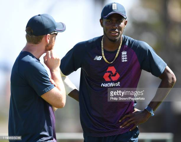 Jofra Archer of England talks to Craig de Weymarn during a training session at St George's Park before the third Test Match between England and South...