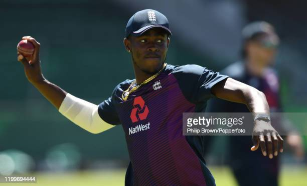 Jofra Archer of England throws a ball during a training session at St George's Park before the third Test Match between England and South Africa on...