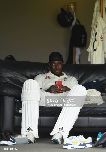 Jofra Archer of England waits to go out to bat at Cobham Oval on November 17, 2019 in Whangarei, New Zealand.