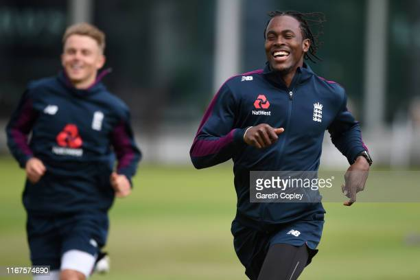 Jofra Archer of England warms up during a nets session at Lord's Cricket Ground on August 12, 2019 in London, England.
