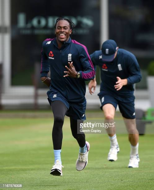 Jofra Archer of England warms up during a nets session at Lord's Cricket Ground on August 12 2019 in London England