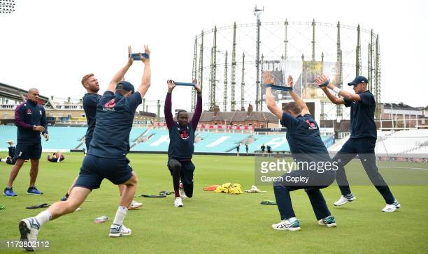 Jofra Archer of England warms up with teammates during a nets session at The Kia Oval on September 11 2019 in London England