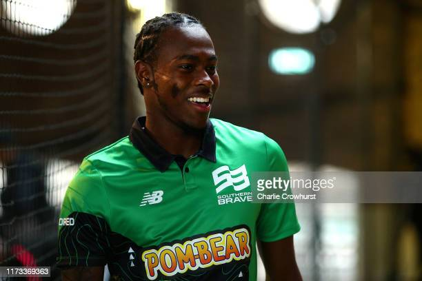 Jofra Archer of Southern Brave one of the eight new mens and womens teams that will be competing in new 100 ball cricket competition, The Hundred,...