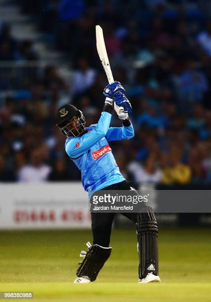 Jofra Archer of Sussex bats during the Vitality Blast match between Sussex Sharks and Surrey at The 1st Central County Ground on July 13 2018 in Hove...