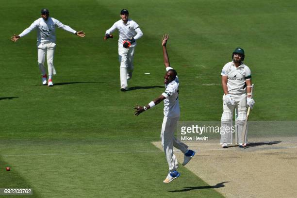 Jofra Archer of Sussex celebrates after trapping Joe Leach of Worcestershire lbw during the third day of the Specsavers County Championship Division...