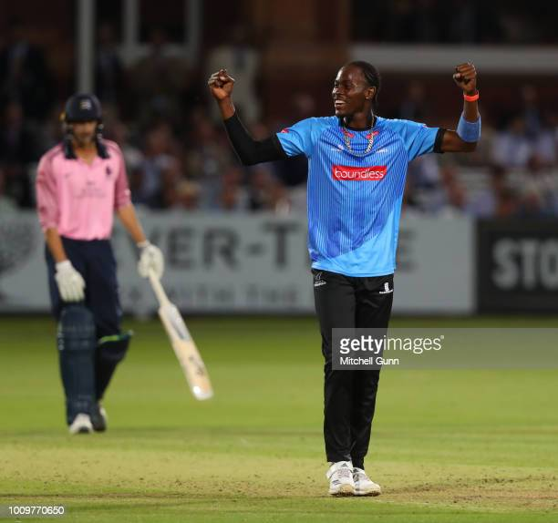 Jofra Archer of Sussex celebrates taking a hattrick during the Vitality Blast T20 match between Middlesex and Sussex Sharks at Lords Cricket Ground...
