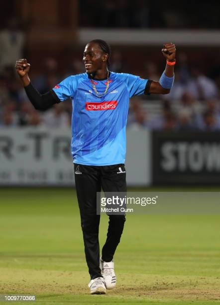 Jofra Archer of Sussex celebrates taking the wicket of John Simpson of Middlesex during the Vitality Blast T20 match between Middlesex and Sussex...