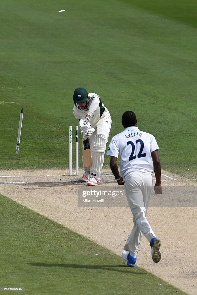 Jofra Archer of Sussex clean bowls Josh Tongue of Worcestershire during the fourth day of the Specsavers County Championship Division Two match between Sussex and Worcestershire at The 1st Central County Ground on June 5, 2017 in Hove, England.