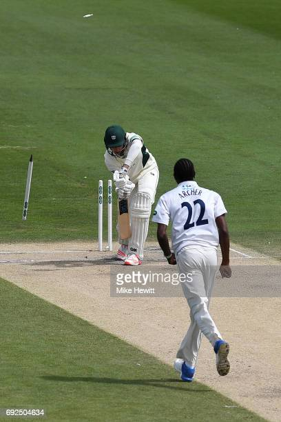 Jofra Archer of Sussex clean bowls Josh Tongue of Worcestershire during the fourth day of the Specsavers County Championship Division Two match...