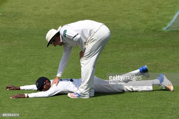 Jofra Archer of Sussex is congratulated by Chris Nash after a fine piece of fielding during the fourth day of the Specsavers County Championship...