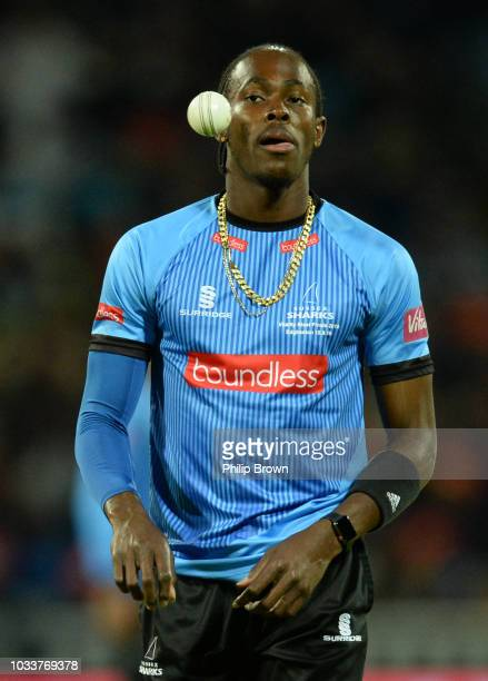 Jofra Archer of Sussex looks on during the Vitality T20 Blast Final between Sussex Sharks and Worcestershire Rapids at Edgbaston cricket ground on...