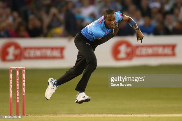 Jofra Archer of Sussex Sharks bowls during the Vitality Blast match between Sussex Sharks and Surrey at The 1st Central County Ground on July 26 2019...