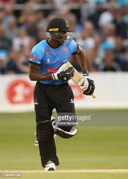 Jofra Archer of Sussex Sharks runs a single during the Vitality Blast match between Sussex Sharks and Surrey at The 1st Central County Ground on July...