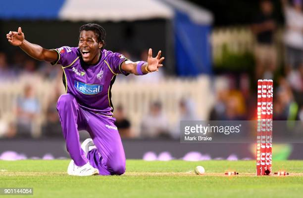 Jofra Archer of the Hobart Hurricanes appeals for a run out during the Big Bash League match between the Hobart Hurricanes and the Adelaide Strikers...