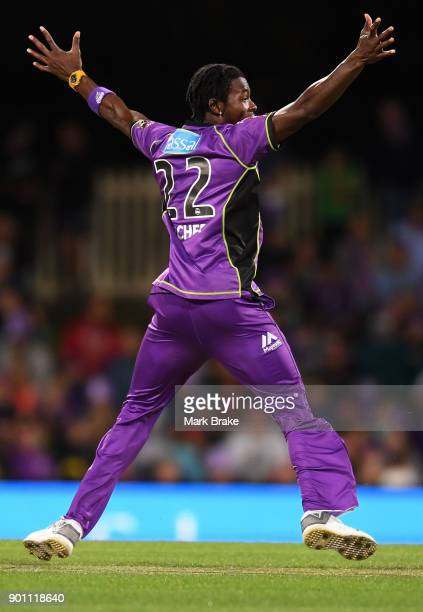 Jofra Archer of the Hobart Hurricanes celebrates after taking the wicket of Jake Lehmann of the Adelaide Strikers during the Big Bash League match...