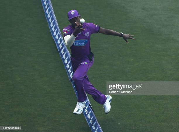 Jofra Archer of the Hobart Hurricanes takes a catch to dismiss Max Bryant of the Brisbane Heat during the Big Bash League match between the Hobart...