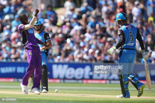 Jofra Archer of the Hurricanes celebrates the wicket of Alex Carey of the Strikers during the Big Bash League Final match between the Adelaide...