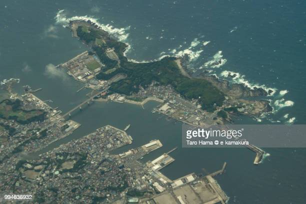 Jogashima Island and Misaki Harbor in Miura city in Japan daytime aerial view from airplane