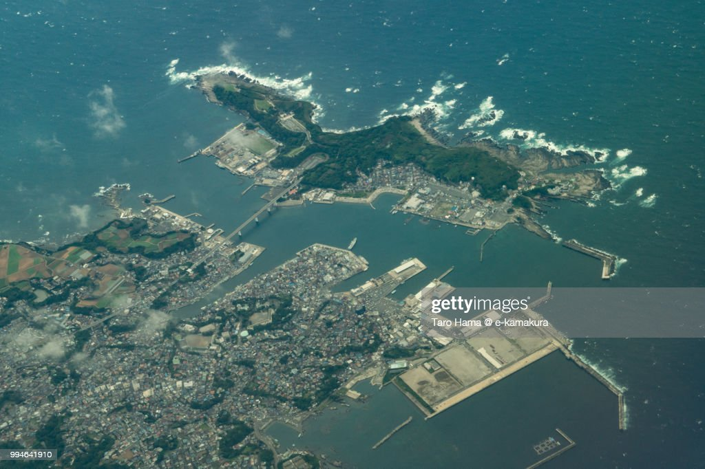 Jogashima Island and Misaki Harbor in Miura city in Japan daytime aerial view from airplane : ストックフォト