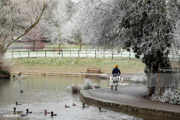 Jogger enjoying a morning run after a heavy frost at Abington Park on December 08, 2020 in Northampton, England .