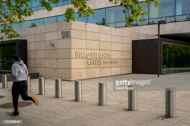 Jogger passes by the Bill and Melinda Gates Foundation on May 4, 2021 in Seattle, Washington. Bill Gates and Melinda Gates announced their divorce...