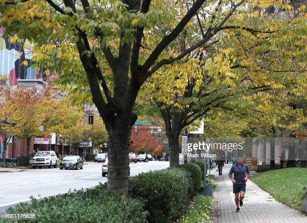 A jogger runs along Crystal Drive in the Crystal City area on November 13 2018 In Arlington Virginia Amazon announced today that it has chosen...