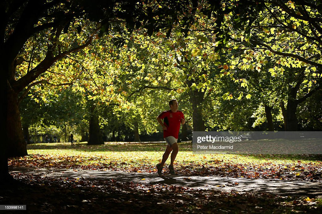 A jogger runs in Hyde Park on October 12, 2012 in London, England. Autumnal colours are beginning to show in parts of the United Kingdom.