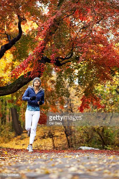 Jogger with Fall Foliage