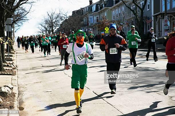 Joggers South Boston St Patricks Day Road Race South Boston Massachusetts