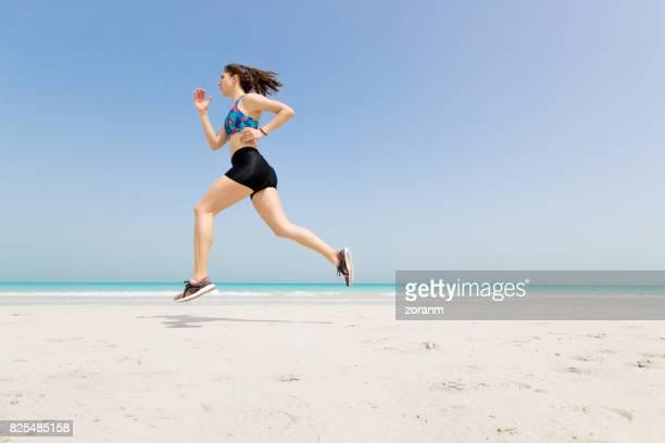 Jogging along beach