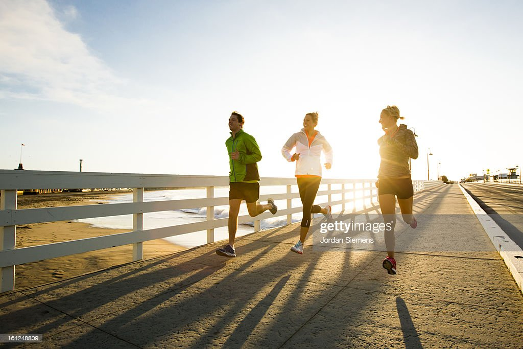 Jogging along the coast. : Stock Photo