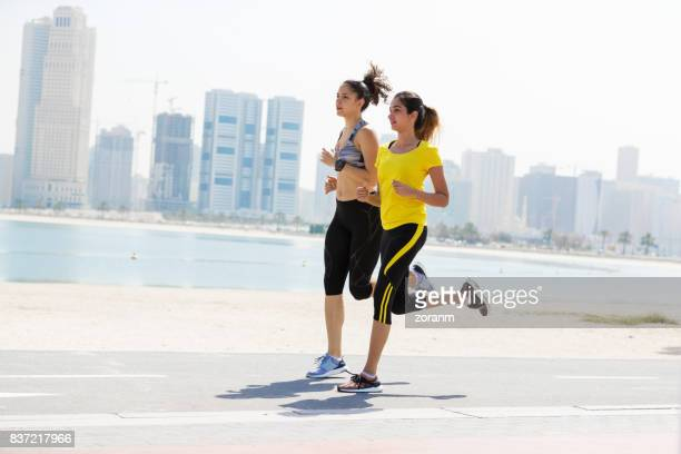 Jogging along waterfront
