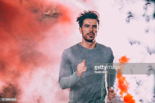 Jogging among the smoke