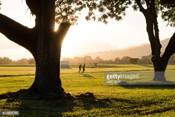 jogging at queen's park savannah - port of spain stock photos and pictures