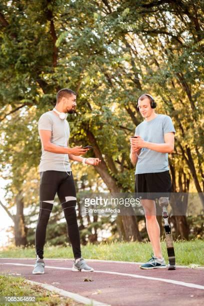 Jogging friends using mobile phones