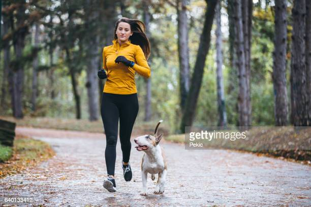 Jogging in the morning with the dog