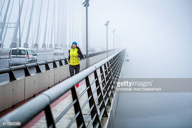 Jogging in the winter morning