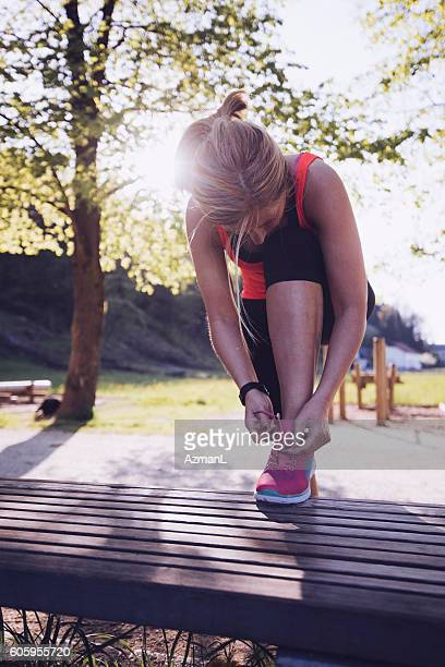 jogging is my daily routine - lace fastener stock pictures, royalty-free photos & images