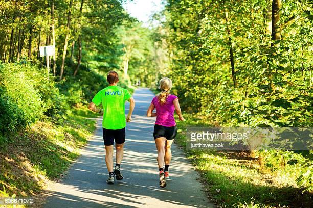Jogging man and woman at Ruhr