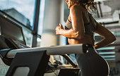 Jogging on treadmill in a gym!