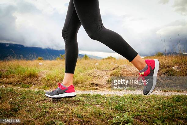 jogging - nylon feet stock photos and pictures